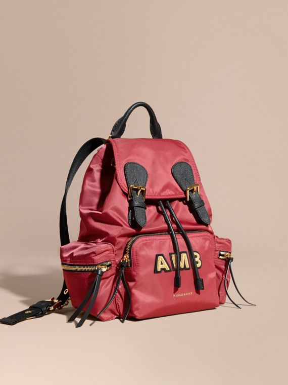 The Medium Rucksack in Technical Nylon and Leather Plum Pink