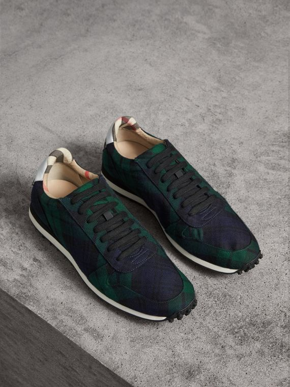 Tartan Wool Trainers in Ink Blue
