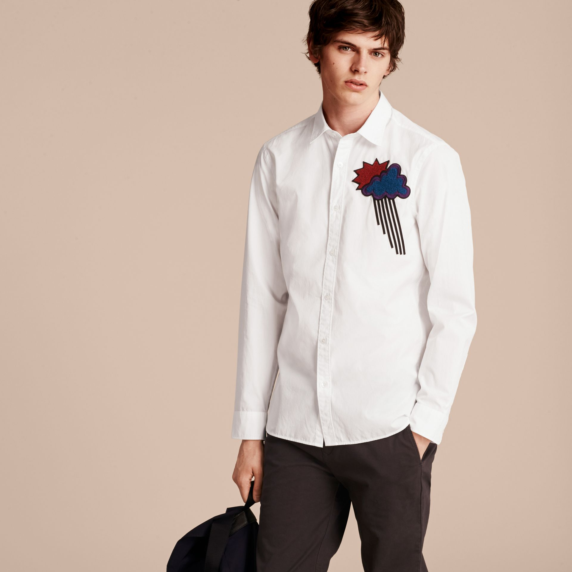 White Weather Appliqué Cotton Poplin Shirt - gallery image 6