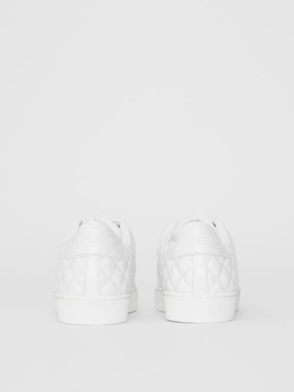 Check-quilted Leather Sneakers in Optic White - Women | Burberry United Kingdom - cell image 3