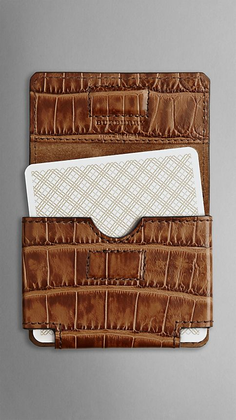 Clay Alligator Leather Playing Card Case - Image 2