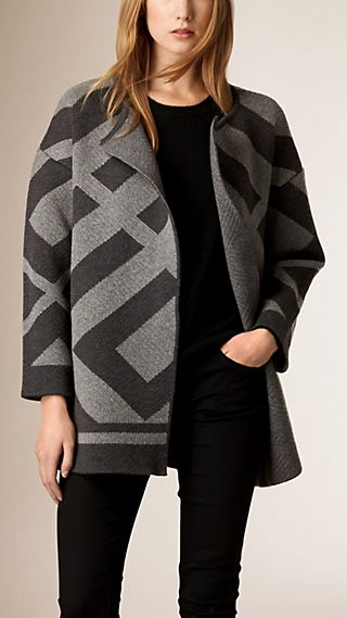 Abstract Check Jacquard Wool Cashmere Coat
