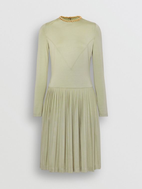 Chain Detail Pleated Stretch Silk and Crepe Dress in Pale Apple