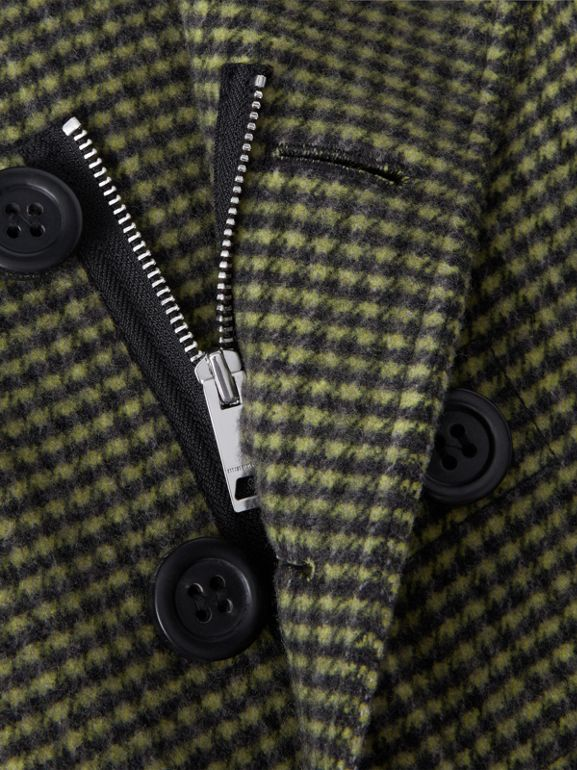 Check Wool Blend Tailored Coat in Grass Green | Burberry - cell image 1