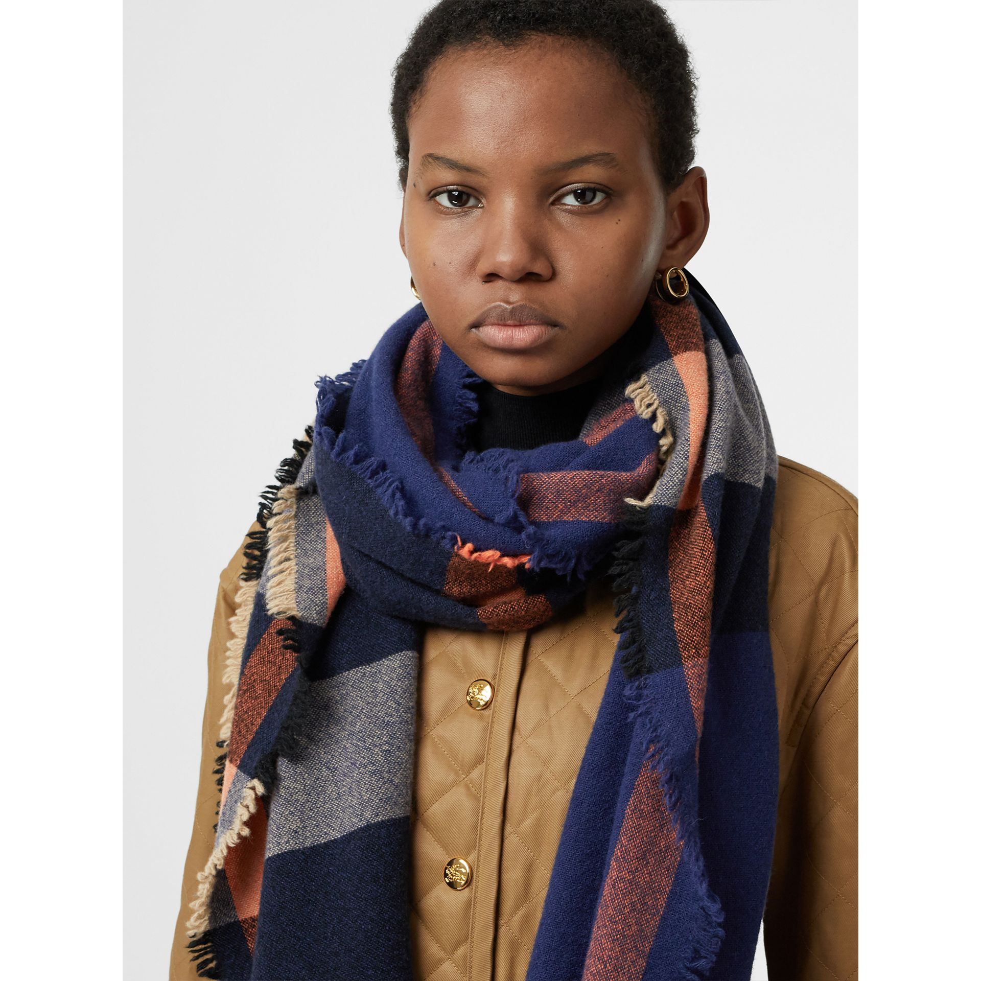 Fringed Check Wool Cashmere Scarf in Ink Blue | Burberry United States - gallery image 5