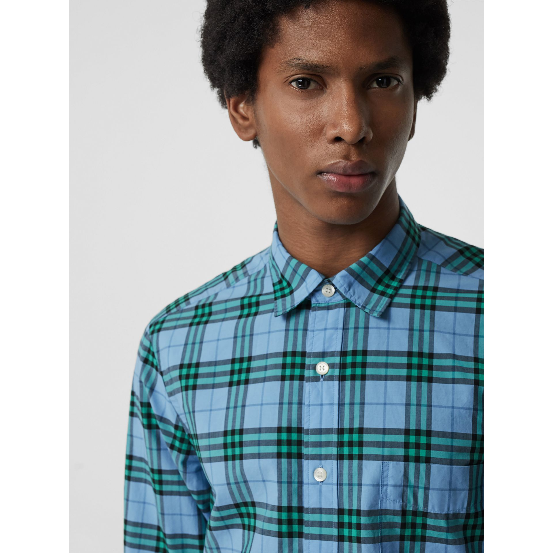 Check Cotton Shirt in Blue Topaz - Men | Burberry Singapore - gallery image 1