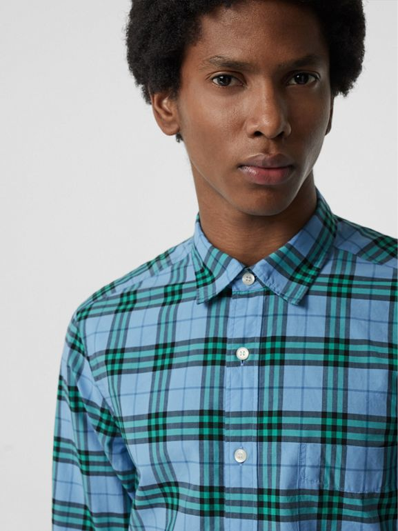 Check Cotton Shirt in Blue Topaz - Men | Burberry - cell image 1