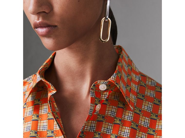 Tiled Archive Print Cotton Shirt in Bright Red - Women | Burberry - cell image 1