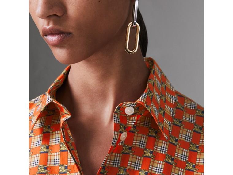 Camisa de algodão com estampa de mosaico do acervo (Vermelho Intenso) - Mulheres | Burberry - cell image 1