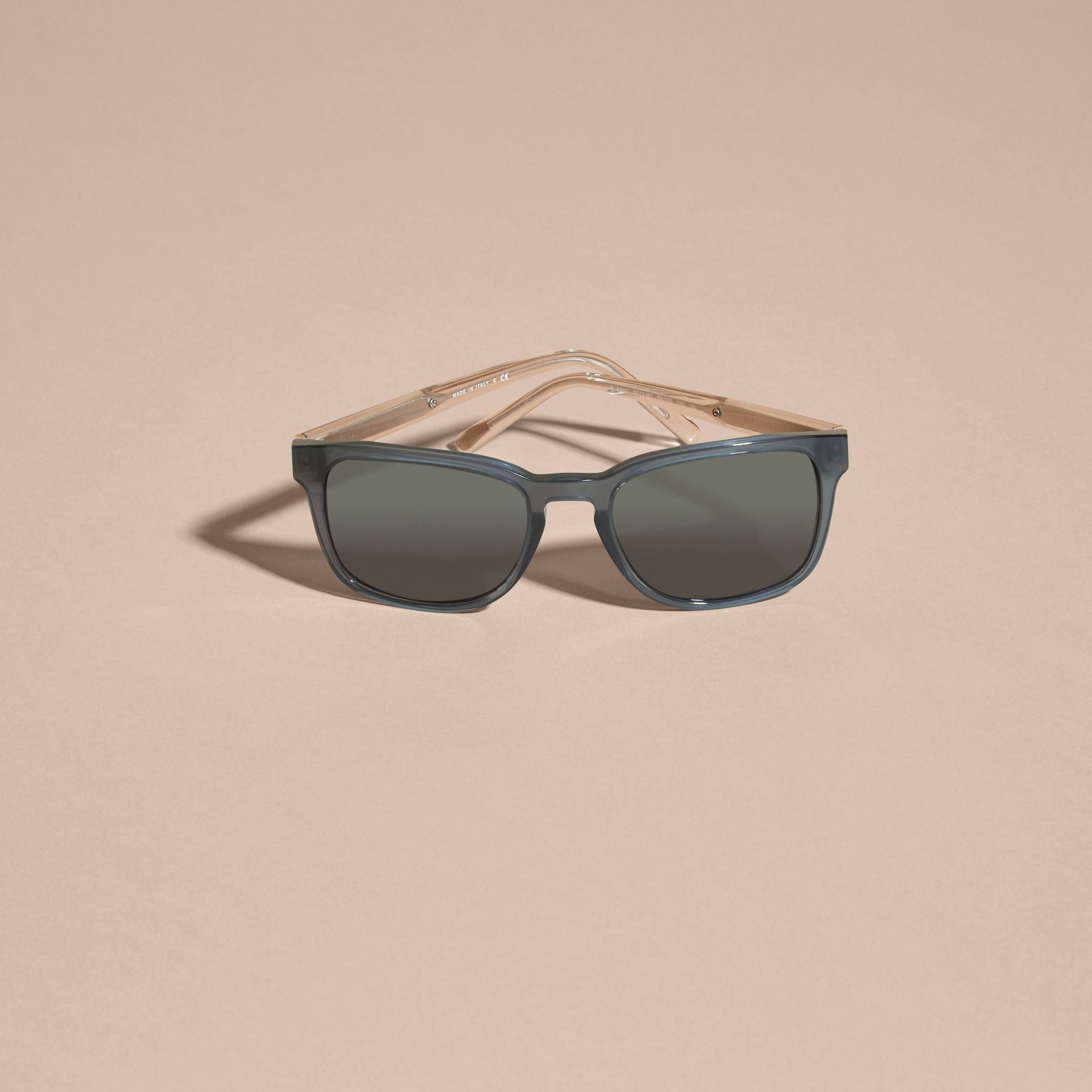 Check Detail Square Frame Sunglasses Blue Grey - gallery image 3