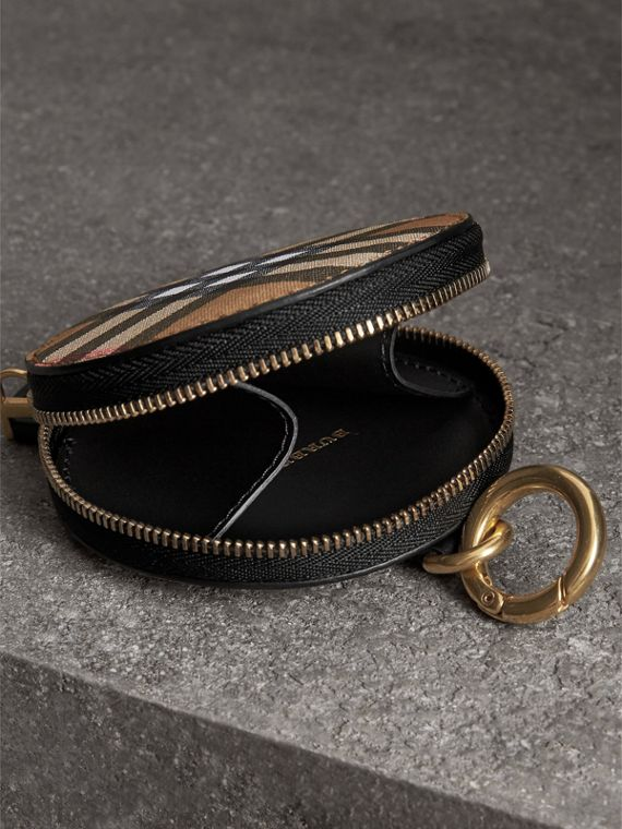 Vintage Check and Leather Coin Case in Black - Women | Burberry United Kingdom - cell image 3