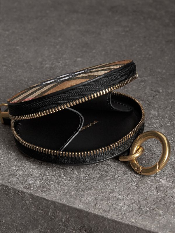 Vintage Check and Leather Coin Case in Black - Women | Burberry Singapore - cell image 3