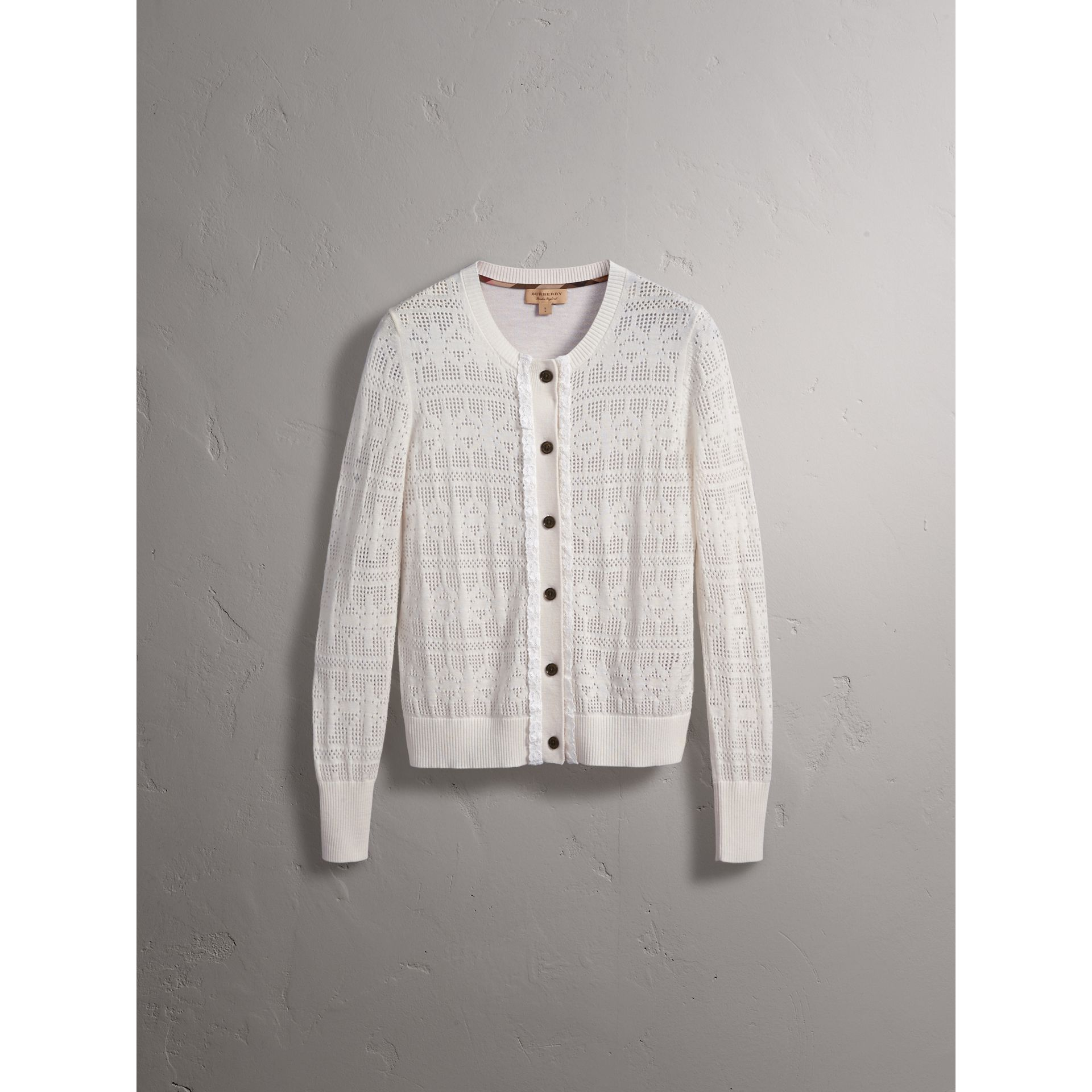 Lace Trim Knitted Wool and Cashmere Cardigan - Women | Burberry - gallery image 4