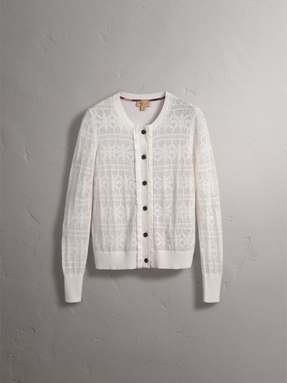 Lace Trim Knitted Wool and Cashmere Cardigan in Natural White - Women | Burberry - cell image 3
