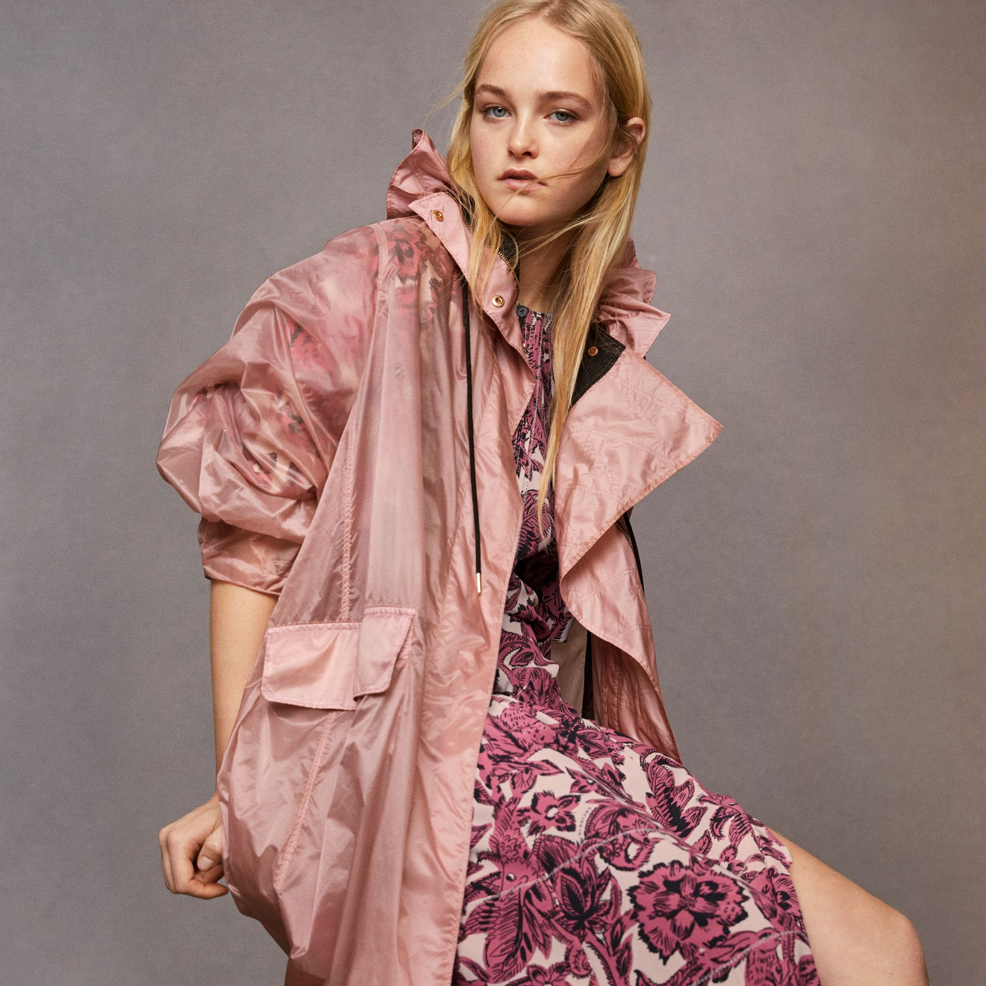 Beasts Print Deep V-neck Silk Longline Dress in Pink Azalea - Women | Burberry - gallery image 6