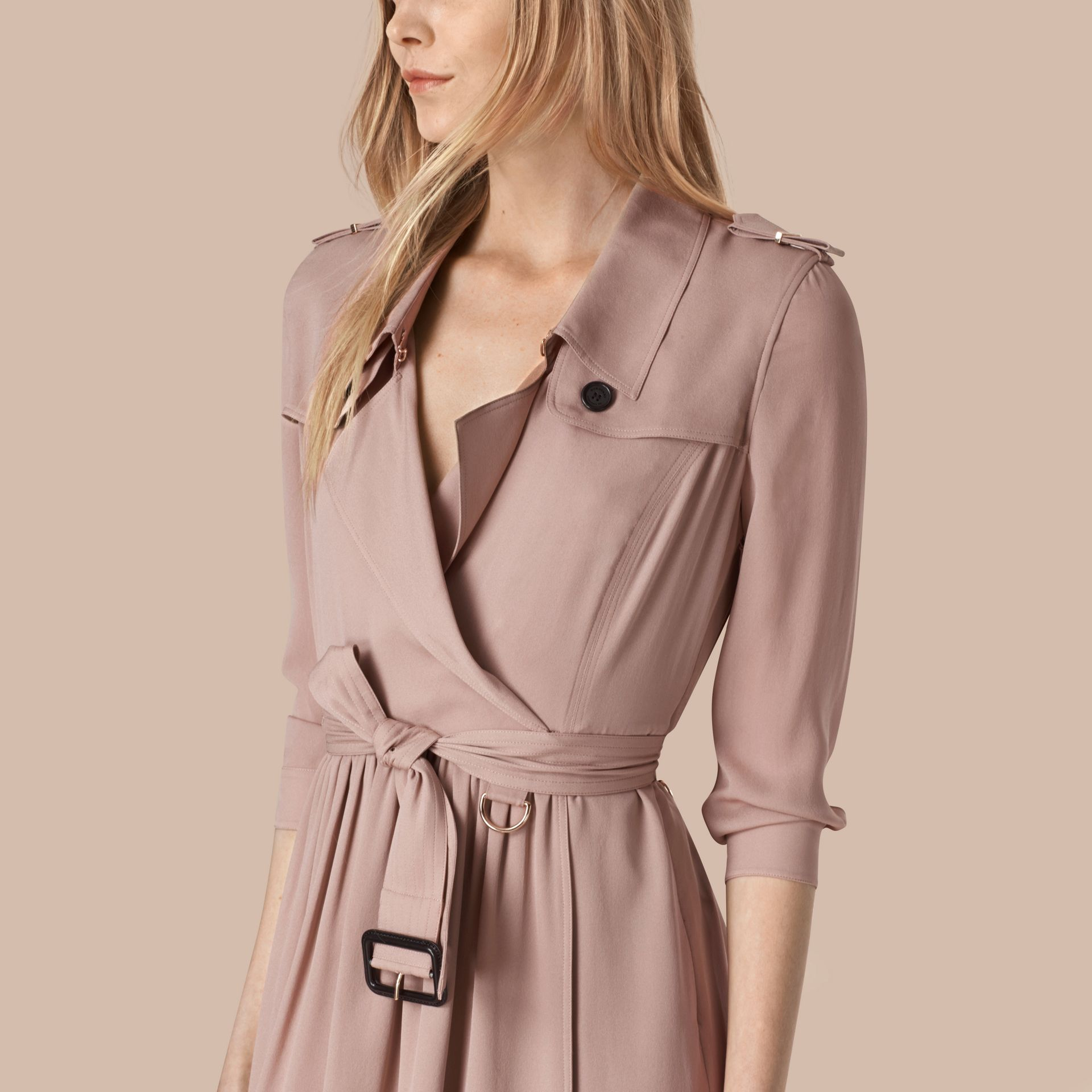Nude Silk Trench Dress Nude - gallery image 4