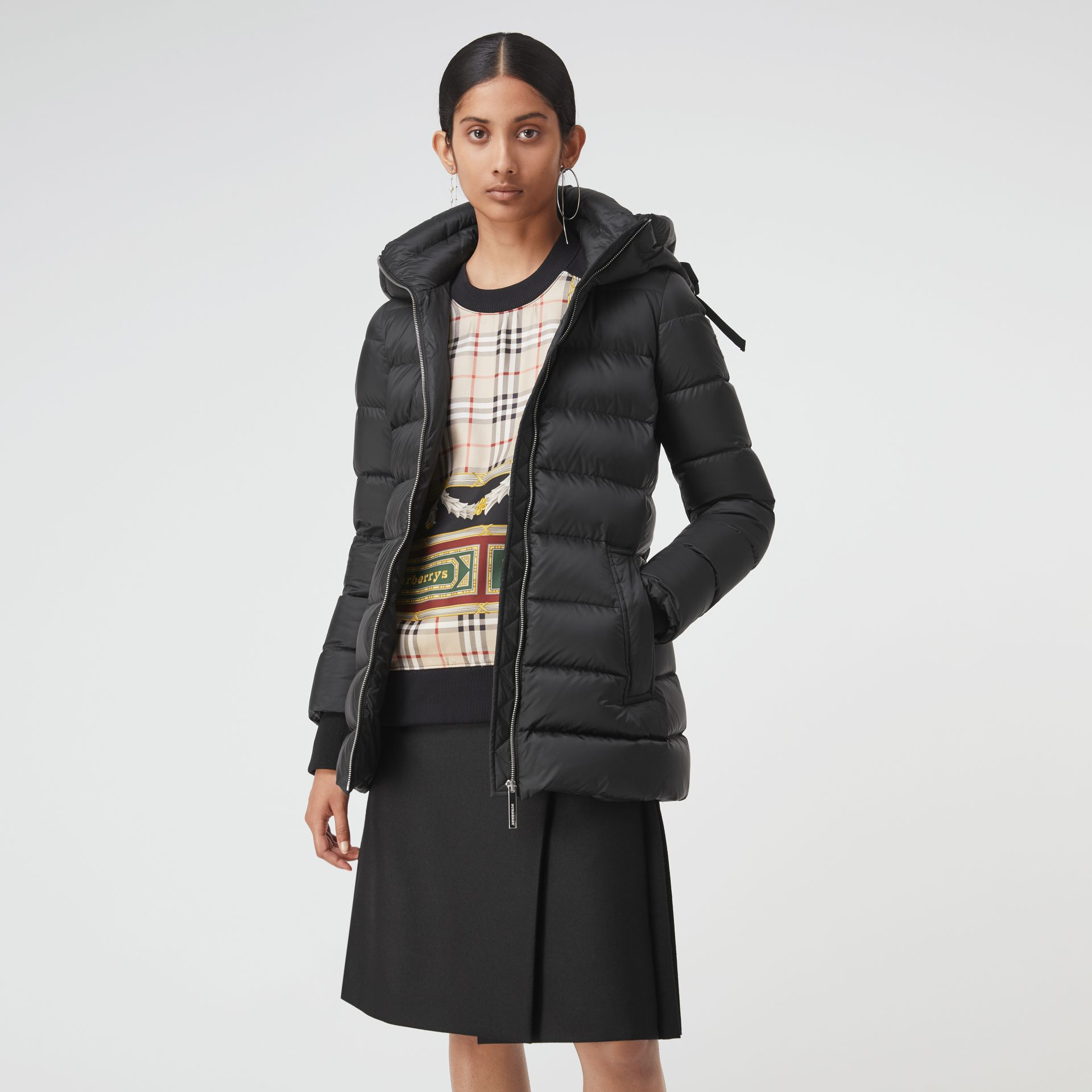 Detachable Hood Down-filled Puffer Coat in Black - Women | Burberry - gallery image 5
