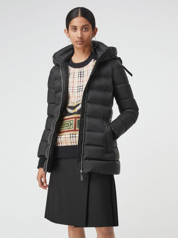 Down-filled Hooded Puffer Coat in Black