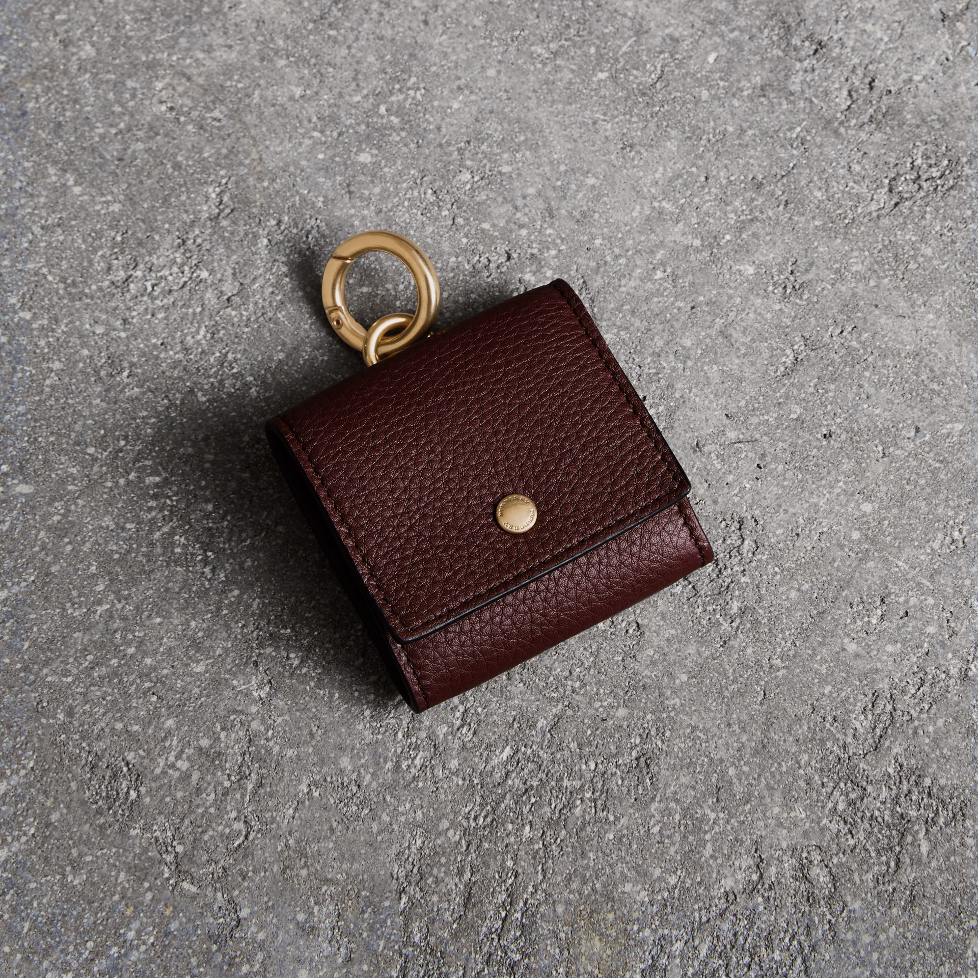 Small Square Leather Coin Case Charm in Deep Claret/limestone - Women | Burberry - gallery image 0