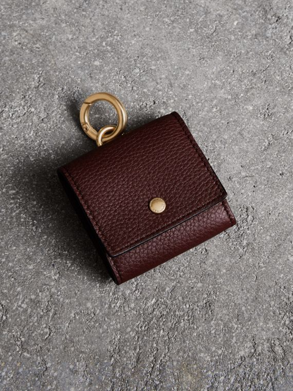 Small Square Leather Coin Case Charm in Deep Claret/limestone