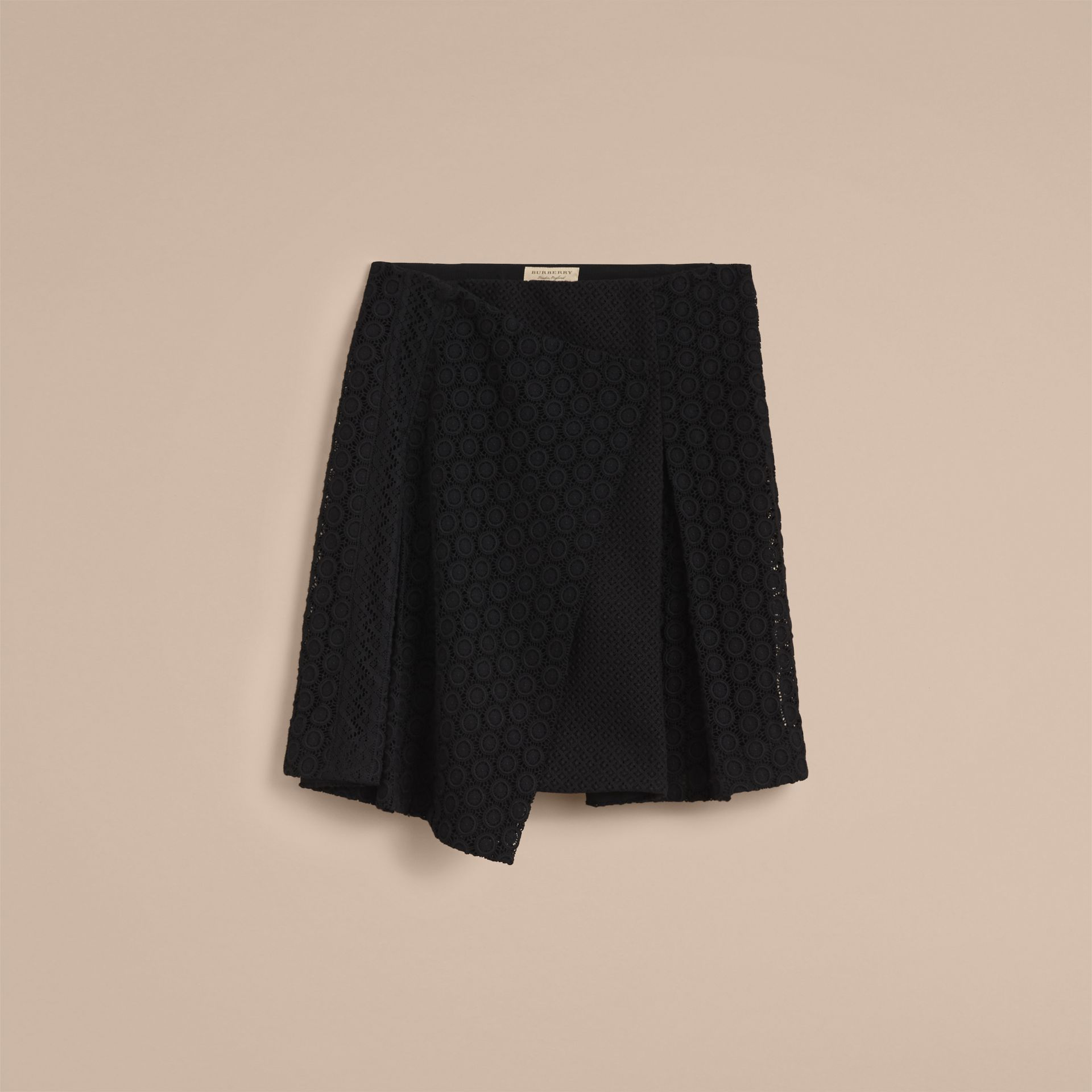 Mixed Lace Pleated Skirt in Black - Women | Burberry - gallery image 4