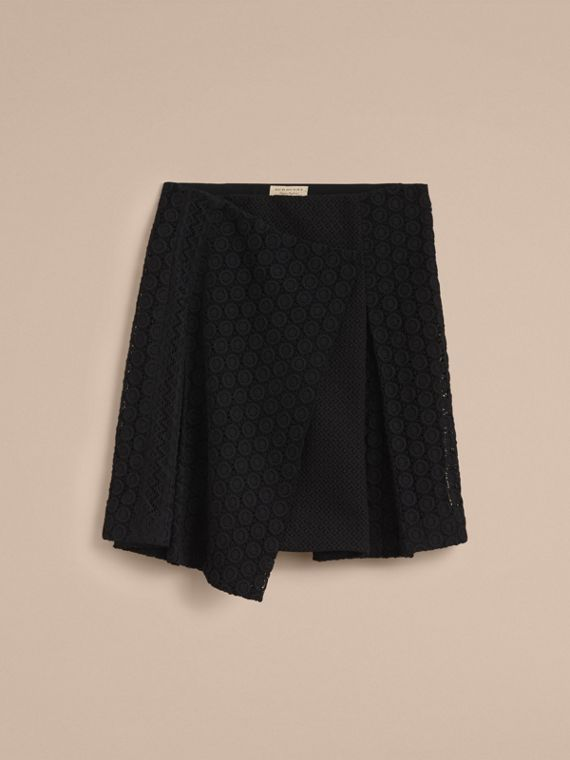 Mixed Lace Pleated Skirt in Black - Women | Burberry - cell image 3