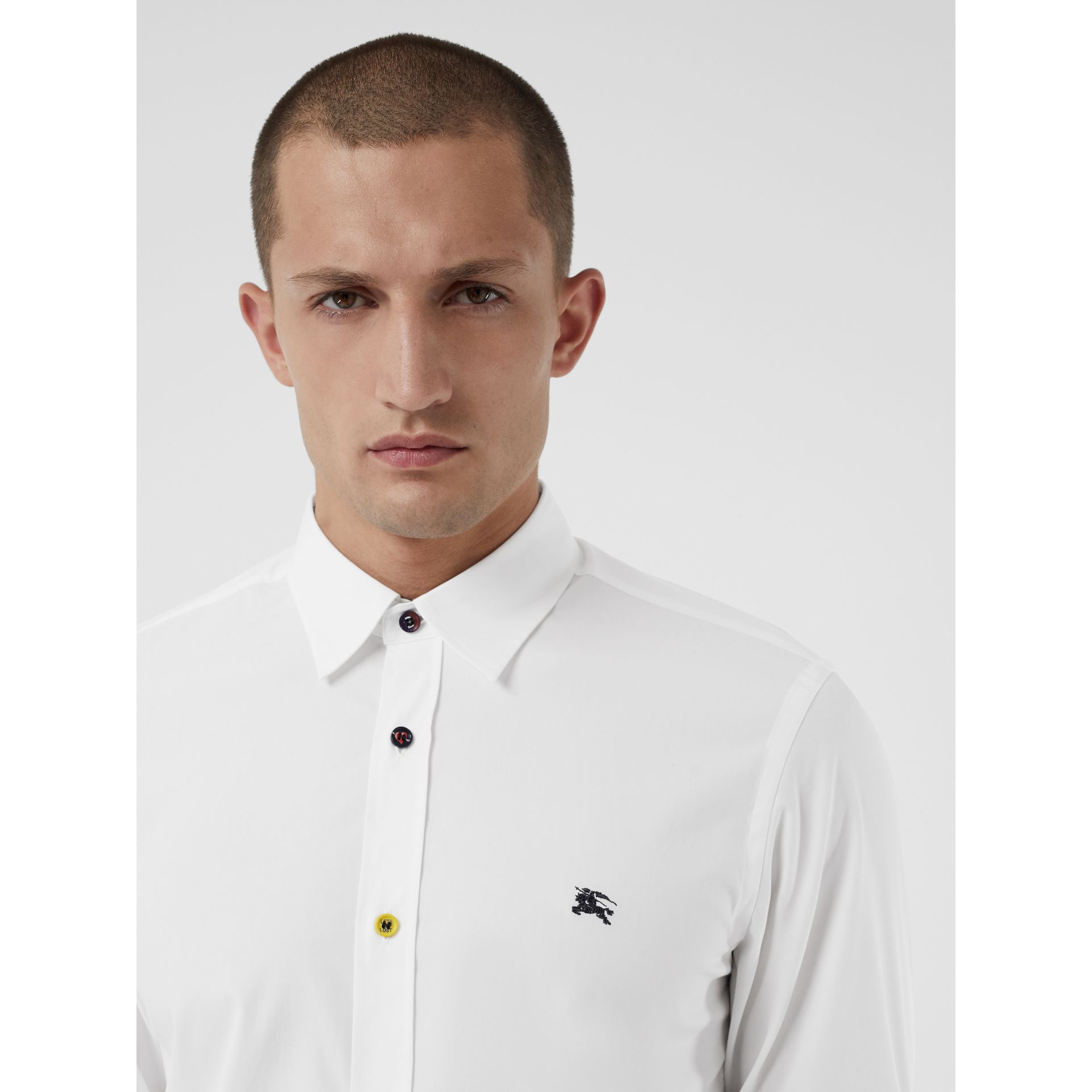 Contrast Button Stretch Cotton Shirt in White - Men | Burberry - gallery image 1