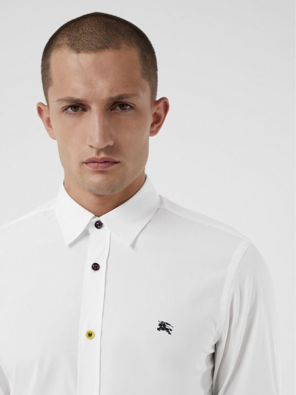 Contrast Button Stretch Cotton Shirt in White - Men | Burberry Australia - cell image 1