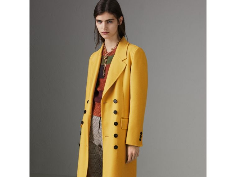 Double-breasted Cashmere Tailored Coat in Ochre Yellow - Women | Burberry Australia - cell image 4