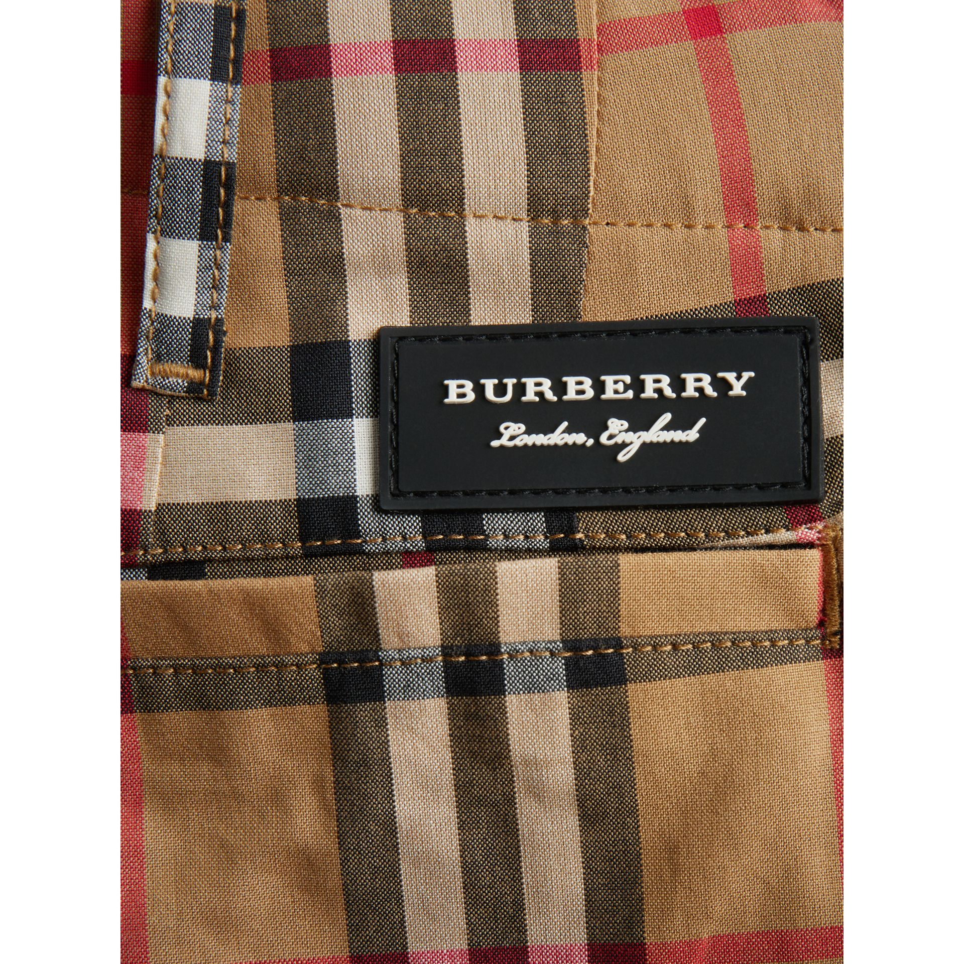 Vintage Check Cotton Tailored Shorts in Antique Yellow | Burberry - gallery image 1