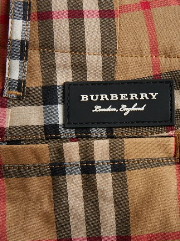 Vintage Check Cotton Tailored Shorts in Antique Yellow - Boy | Burberry United Kingdom - cell image 1