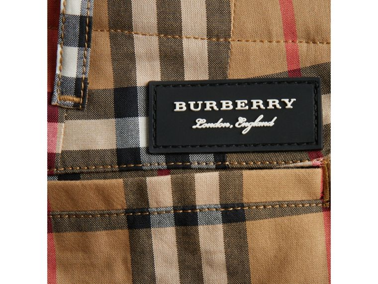 Vintage Check Cotton Tailored Shorts in Antique Yellow - Boy | Burberry - cell image 1
