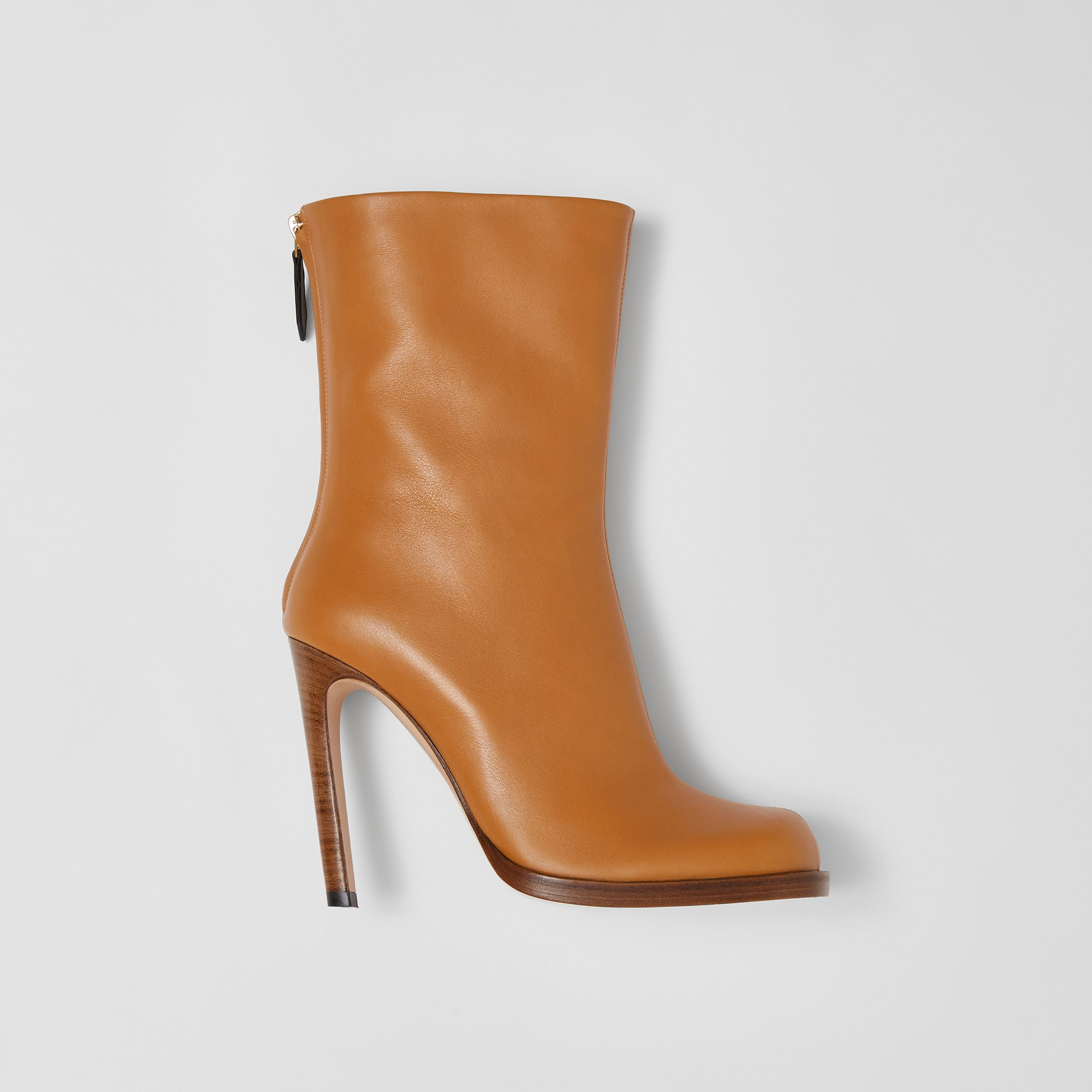 Vintage Check-lined Leather Ankle Boots in Ochre - Women | Burberry - 1