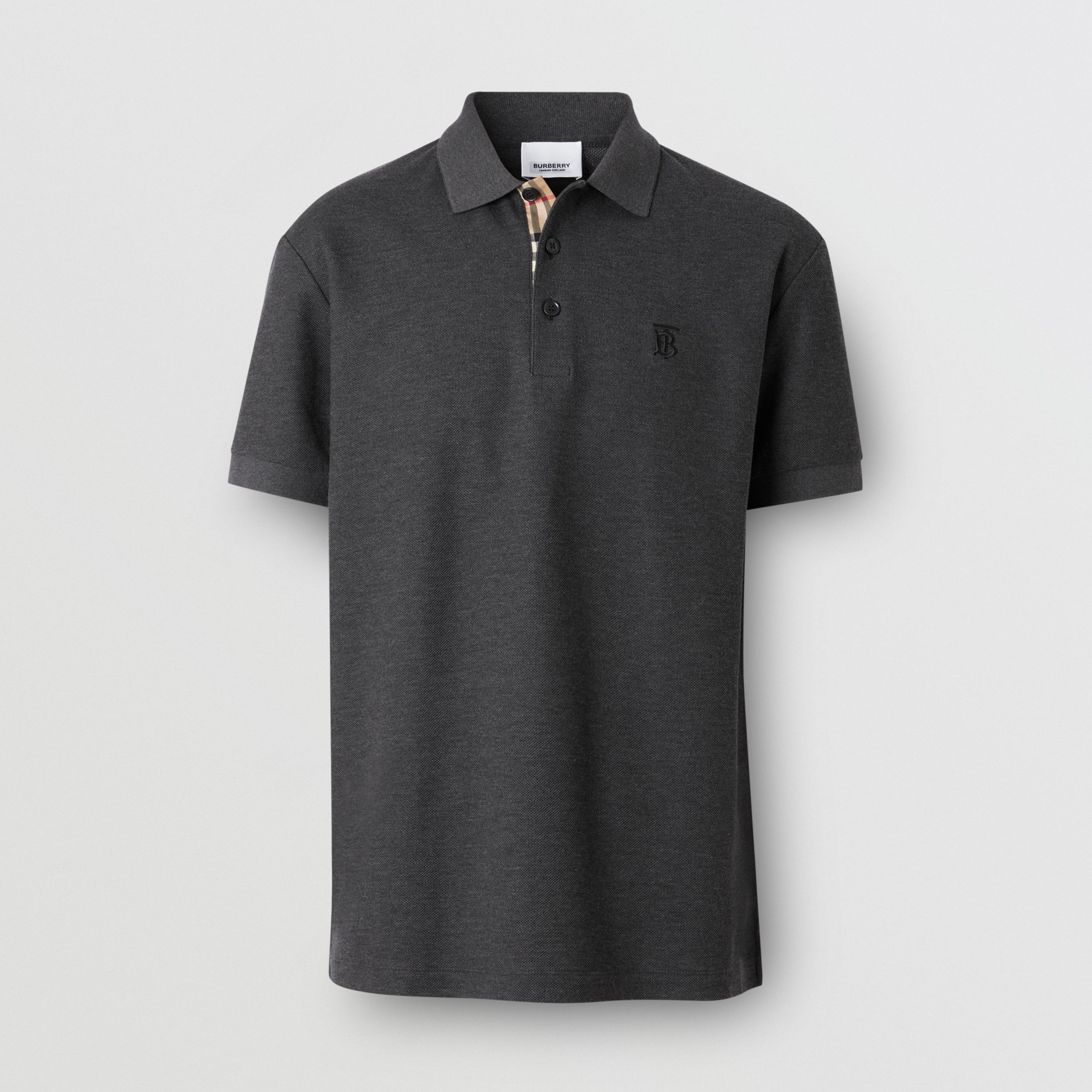 Monogram Motif Cotton Piqué Polo Shirt in Charcoal Melange - Men | Burberry - 4