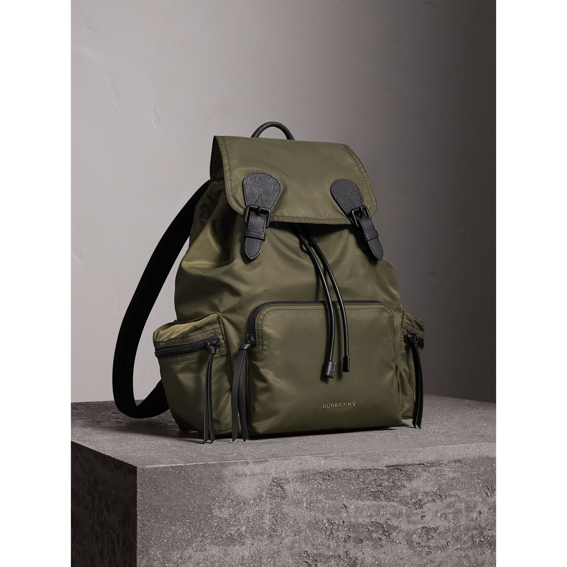 The Large Rucksack in Technical Nylon and Leather in Canvas Green - Men | Burberry United States - gallery image 7