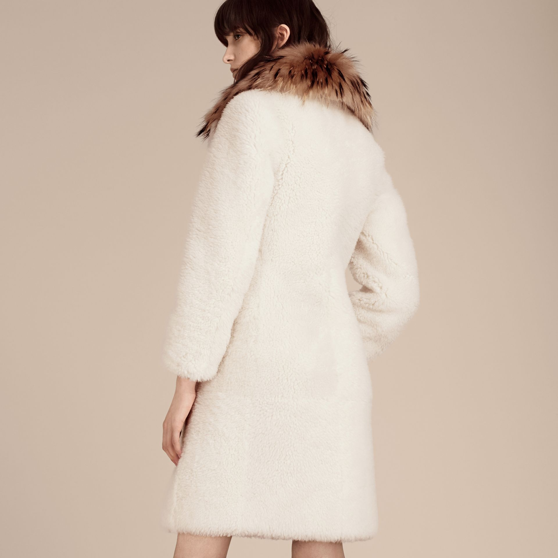 White Double-breasted Shearling Coat - gallery image 3