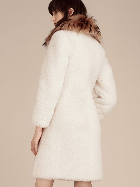 White Double-breasted Shearling Coat - cell image 2