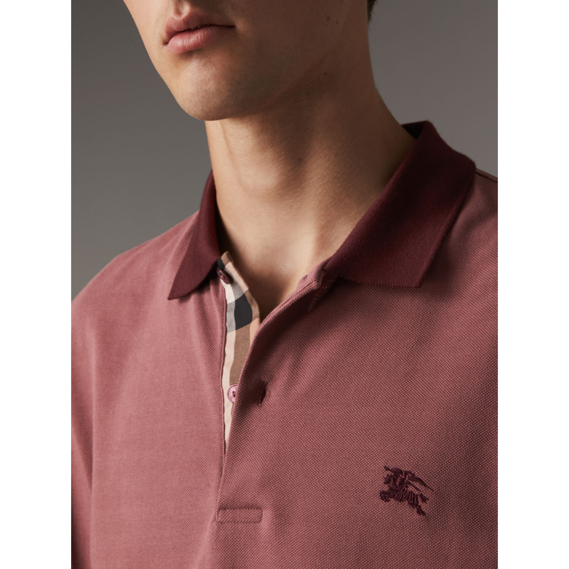 Long-sleeve Cotton Piqué Polo Shirt in Rosewood - Men | Burberry - gallery image 2