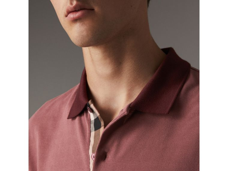 Long-sleeve Cotton Piqué Polo Shirt in Rosewood - Men | Burberry - cell image 1