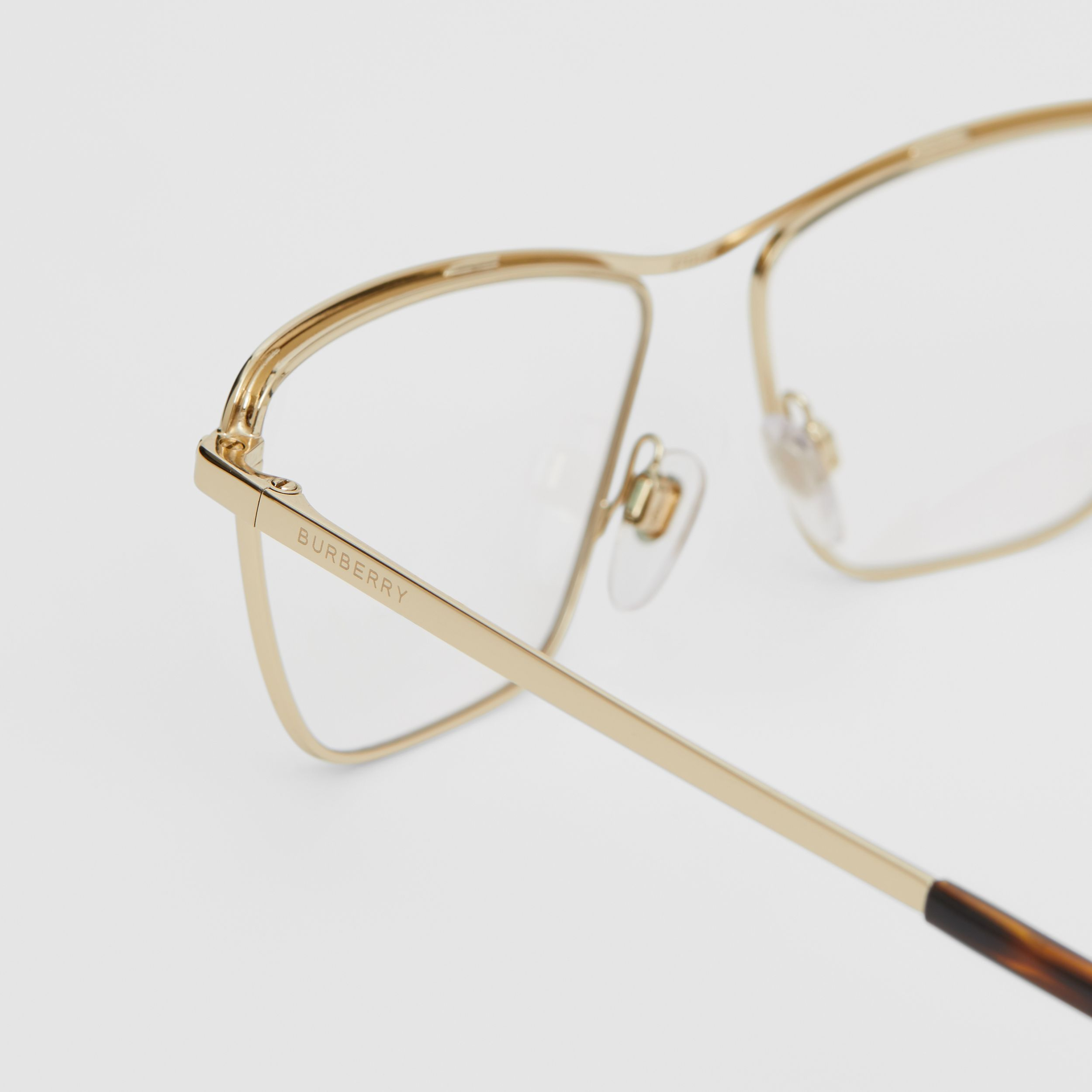 Rectangular Optical Frames in Light Gold - Women | Burberry - 2