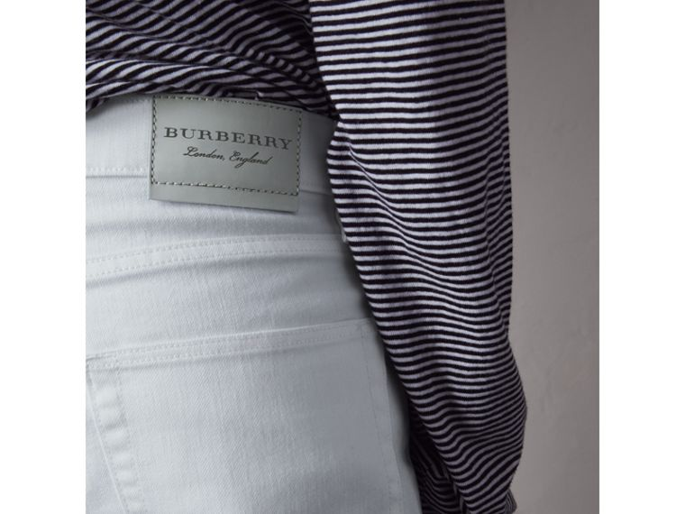Slim Fit Stretch Japanese Denim Jeans in White - Men | Burberry - cell image 4