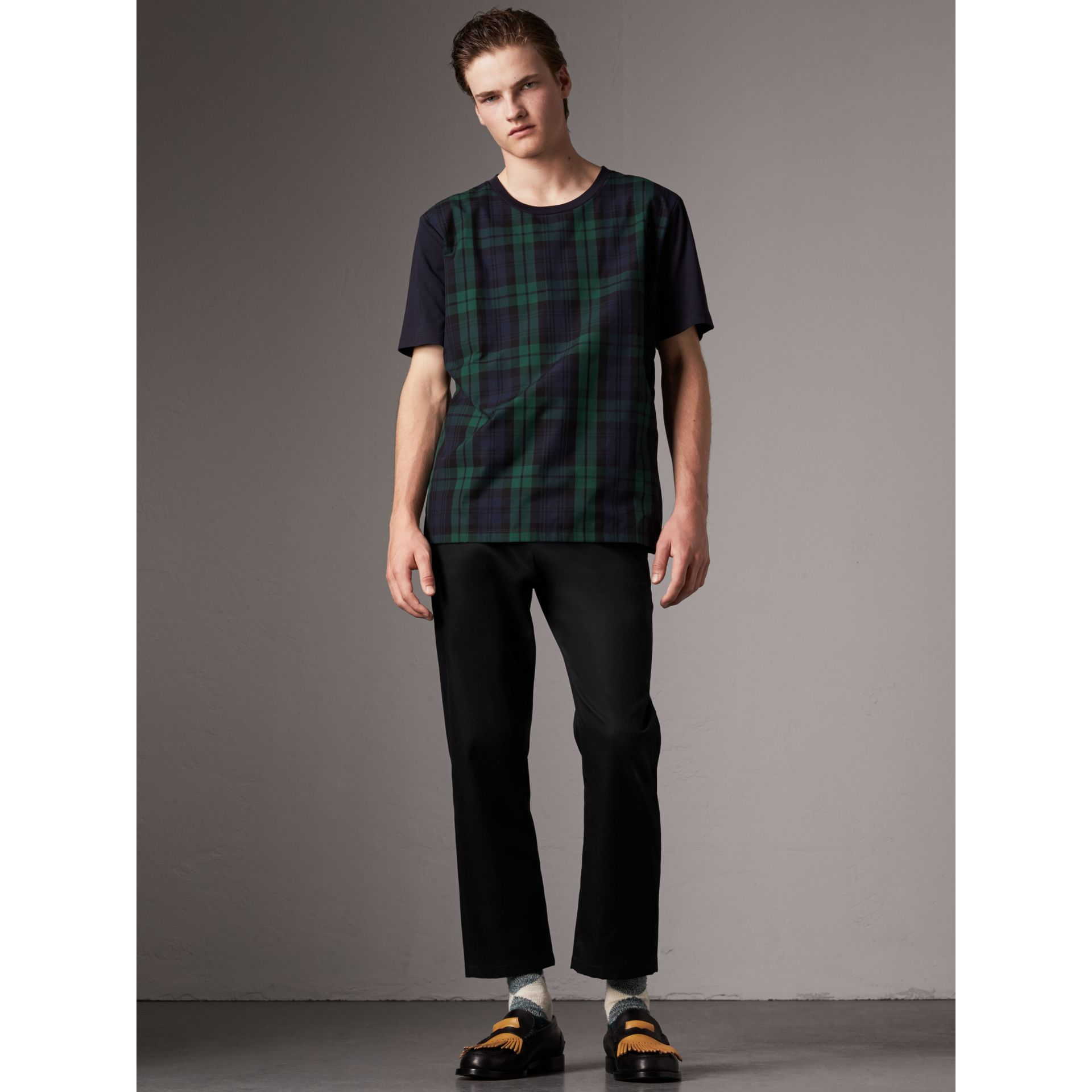 Tartan Panel Cotton T-shirt in Navy - Men | Burberry - gallery image 1