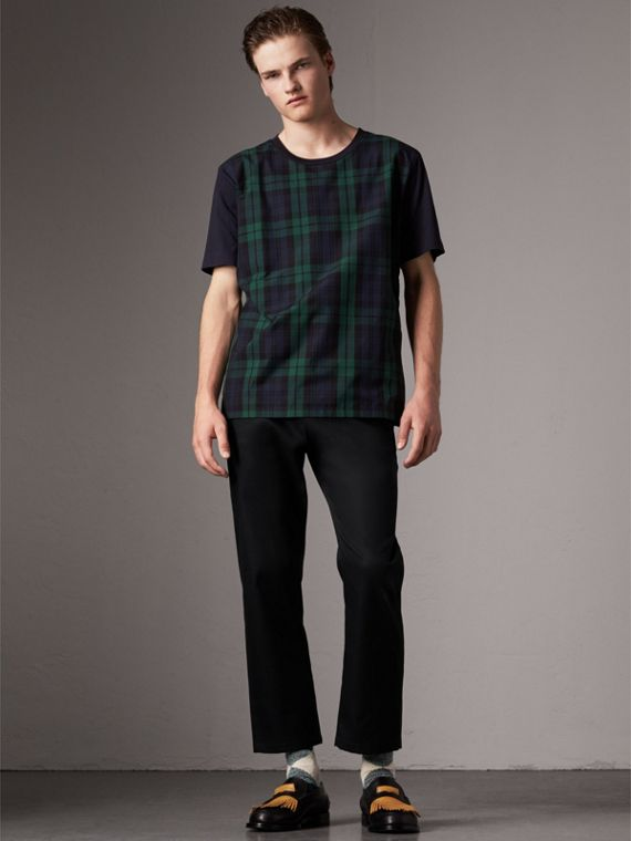 Tartan Panel Cotton T-shirt in Navy