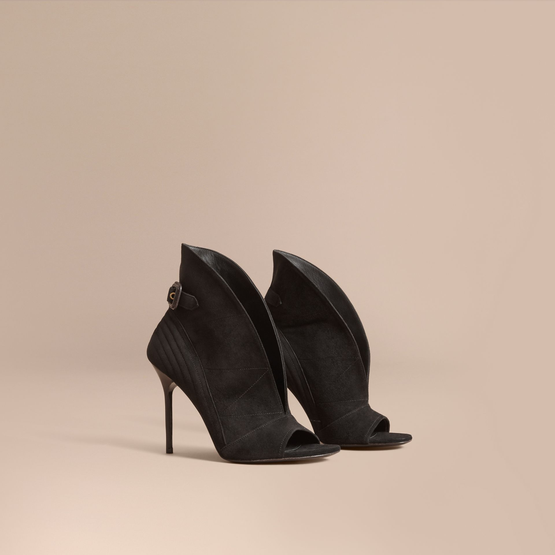 Buckle Detail Suede Peep-toe Ankle Boots in Black - Women | Burberry Australia - gallery image 1