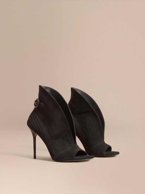 Buckle Detail Suede Peep-toe Ankle Boots Black