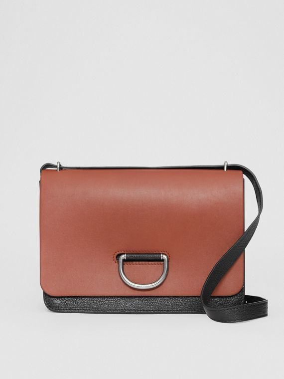 The Medium Leather D-ring Bag in Tan/black
