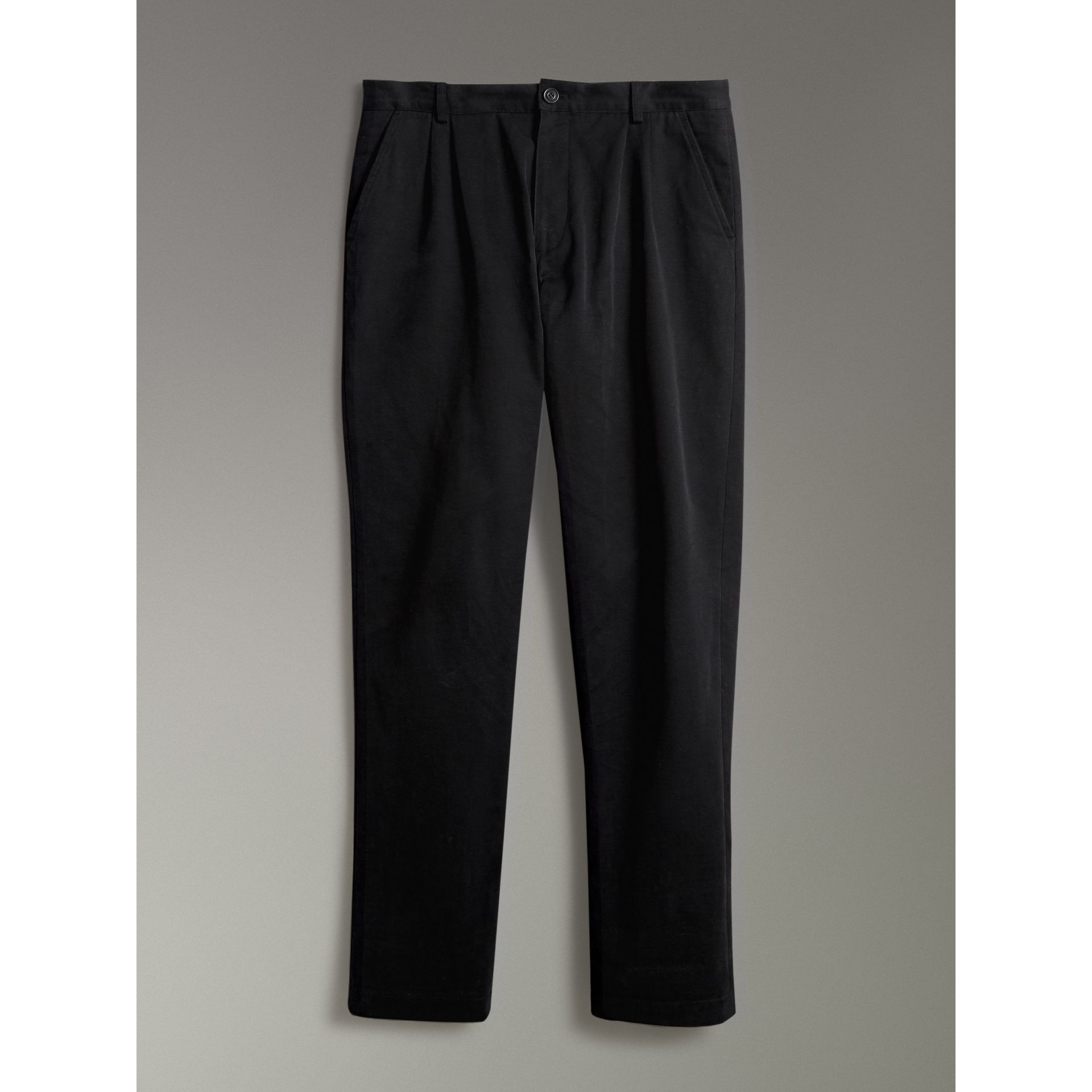 Cotton Canvas Wide Leg Trousers in Black - Men | Burberry - gallery image 3
