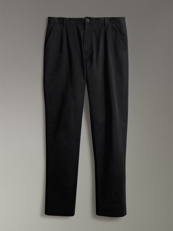 Cotton Canvas Wide Leg Trousers in Black - Men | Burberry United Kingdom - cell image 3