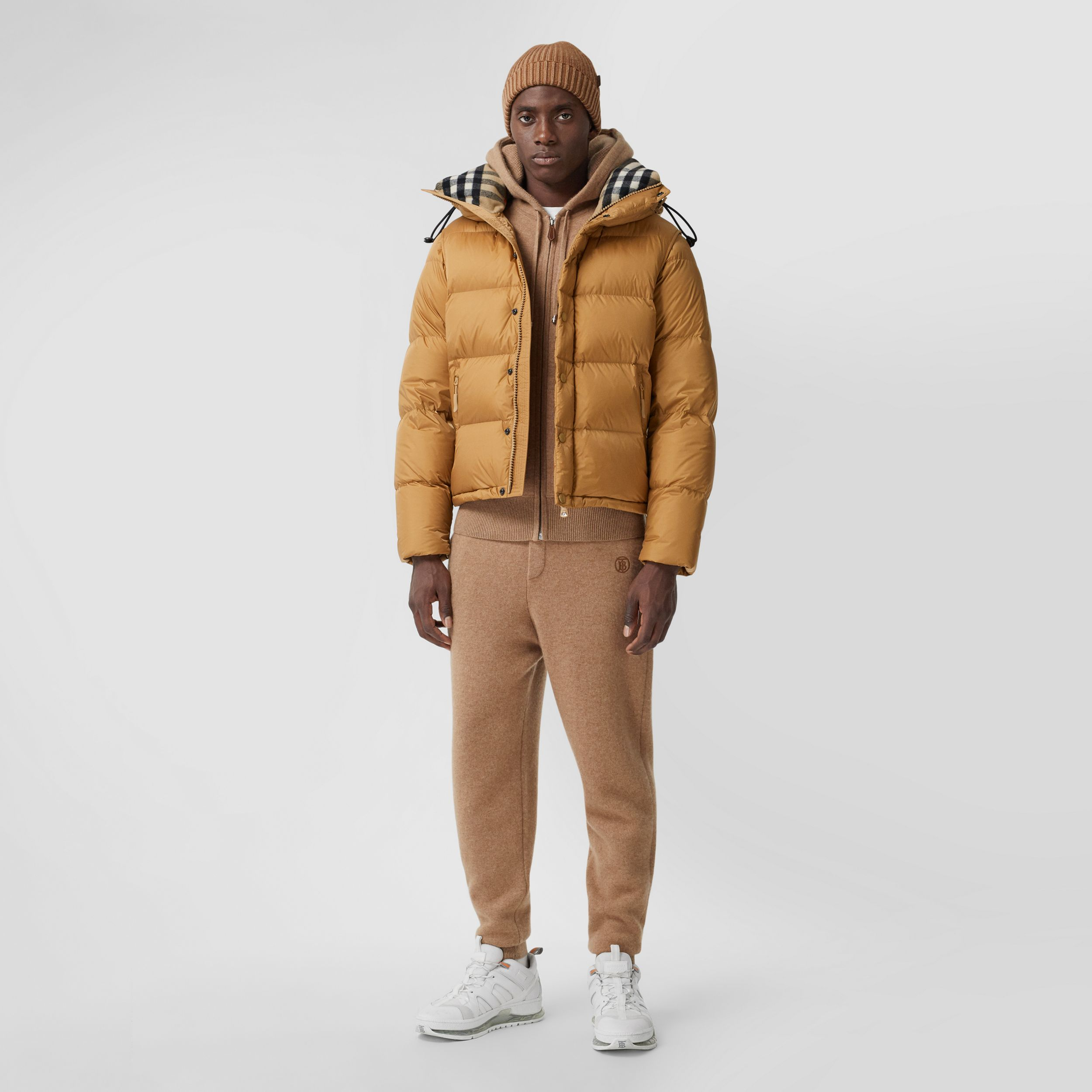 Detachable Sleeve Hooded Puffer Jacket in Warm Honey - Men | Burberry - 1