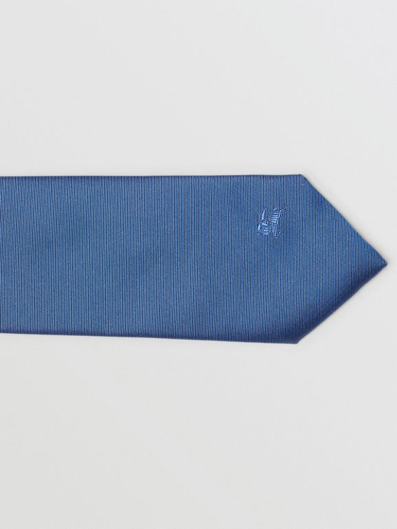Modern Cut Check Detail Silk Tie in Bright Cobalt - Men | Burberry - cell image 1